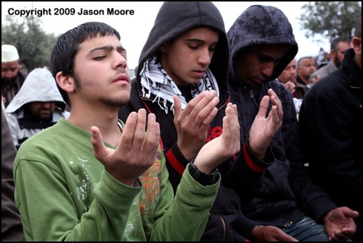 Palestinian Muslims Praying in Jerusalem