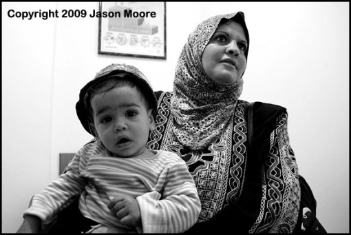 Palestinian mother and child in Hebron in the West Bank
