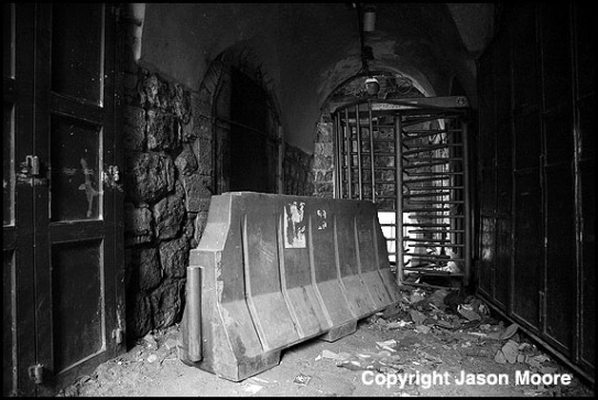 Israeli army checkpoint in the Palestinian city of Hebron in the south of the West bank