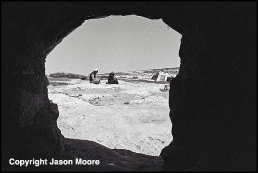 Looking through a cave door in the Palestinian cave village of Qawawis in the southern Hebron hills of the West bank.
